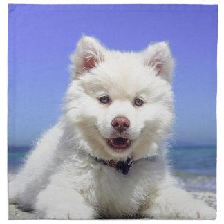 White Husky Puppy with Blue Eyes Napkin