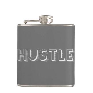 White Hustle Modern Typography Hip Flask