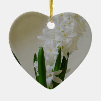 White Hyacinth. Ceramic Heart Ornament