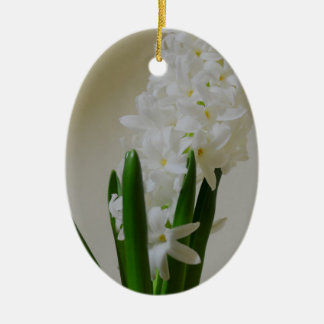 White Hyacinth. Ceramic Oval Ornament