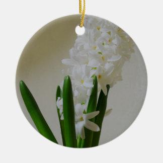 White Hyacinth. Round Ceramic Ornament