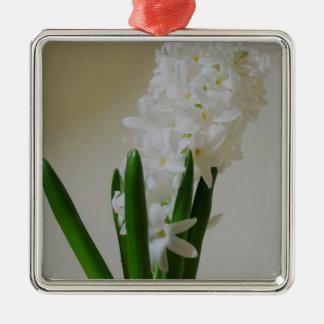 White Hyacinth. Silver-Colored Square Ornament