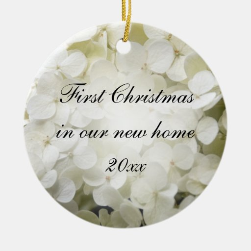 White Hydrangea 1st Christmas in New Home Ornament