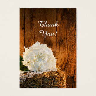 White Hydrangea and Barn Wood Wedding Favor Tag Business Card