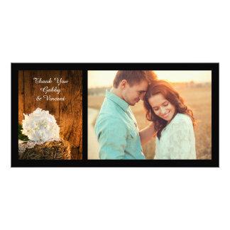 White Hydrangea and Barn Wood Wedding Thank You Card
