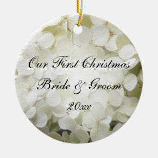 White Hydrangea First Christmas Photo Ceramic Ornament