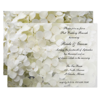 White Hydrangea Floral Post Wedding Brunch Invite