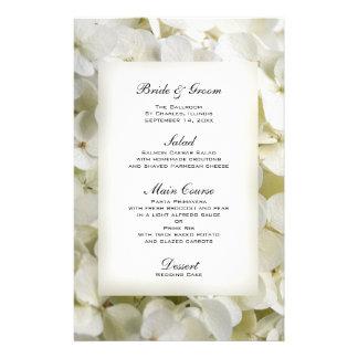 White Hydrangea Floral Wedding Menu Personalized Stationery