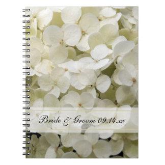 White Hydrangea Floral Wedding Spiral Notebook