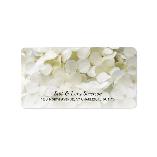 White Hydrangea Flower Return Address Label
