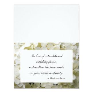 "White Hydrangea Flower Wedding Charity Favor Cards 4.25"" X 5.5"" Invitation Card"