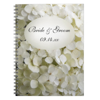 White Hydrangea Flower Wedding Notebook