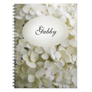 White Hydrangea Flowers Spiral Notebook