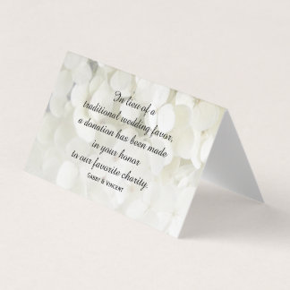 White Hydrangea Flowers Wedding Charity Favors Place Card