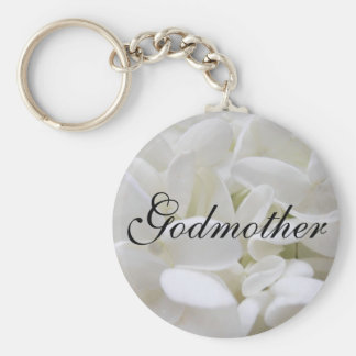 "White Hydrangea ""Godmother"" keyring Basic Round Button Keychain"