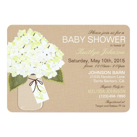 White Hydrangea Mason Jar Rustic Baby Shower Card