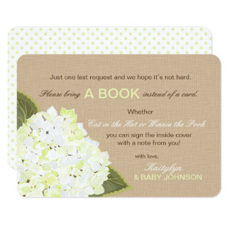 White Hydrangea Rustic Read a Book Card