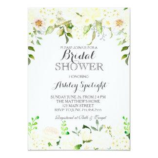 White hydrangea Shower Floral Invitation, Card