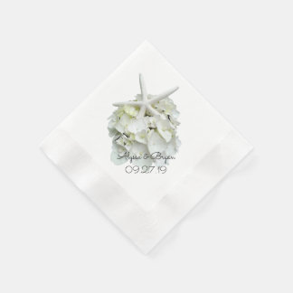 White Hydrangea Starfish Wedding Disposable Napkins