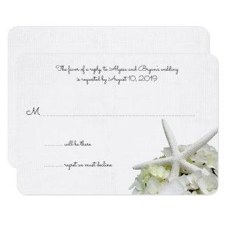 "White Hydrangea Starfish Wedding Reply Cards 3.5"" X 5"" Invitation Card"