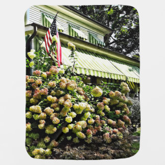 White Hydrangeas By Green Striped Awning Baby Blanket