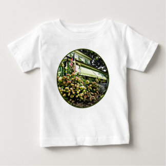 White Hydrangeas By Green Striped Awning Baby T-Shirt