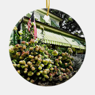 White Hydrangeas By Green Striped Awning Ceramic Ornament