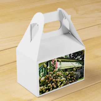 White Hydrangeas By Green Striped Awning Favor Box