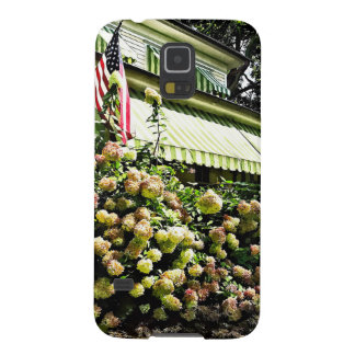 White Hydrangeas By Green Striped Awning Galaxy S5 Cases