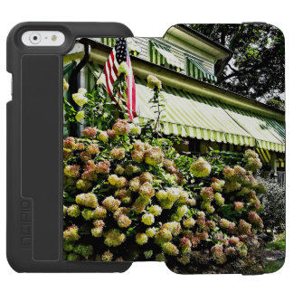 White Hydrangeas By Green Striped Awning Incipio Watson™ iPhone 6 Wallet Case