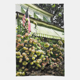 White Hydrangeas By Green Striped Awning Kitchen Towel