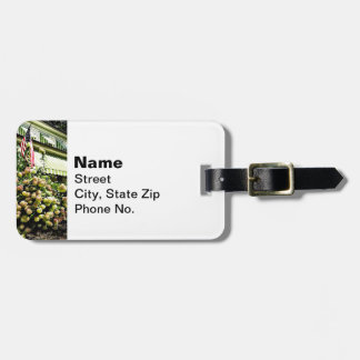 White Hydrangeas By Green Striped Awning Luggage Tag