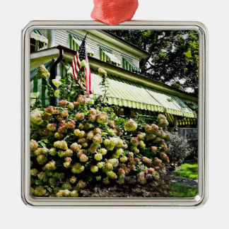 White Hydrangeas By Green Striped Awning Metal Ornament