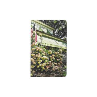 White Hydrangeas By Green Striped Awning Pocket Moleskine Notebook