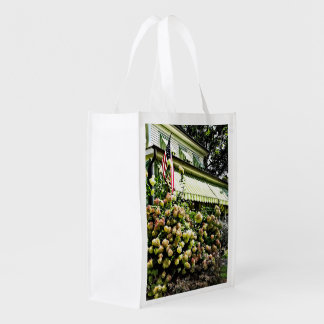 White Hydrangeas By Green Striped Awning Reusable Grocery Bag