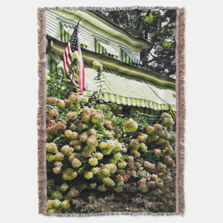 White Hydrangeas By Green Striped Awning Throw Blanket