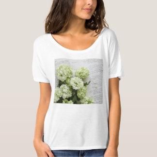 White hydrangeas with script writing tshirt