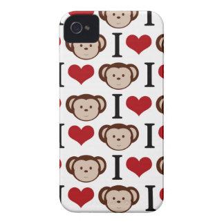 White I Love Monkeys Blackberry Case