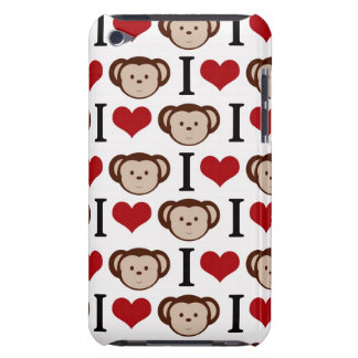 White I Love Monkeys iPod Touch Case