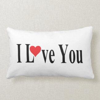 White I Love You Lumbar Pillow