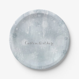 White Ice Snowflakes Winter Wonderland Party Paper Plate