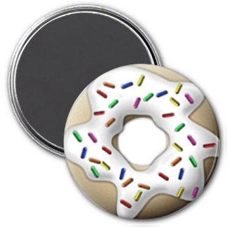 White Iced Doughnut 3 Inch Round Magnet