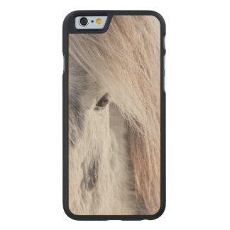 White Icelandic Horse face, Iceland Carved Maple iPhone 6 Case