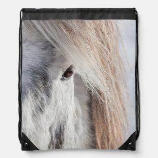 White Icelandic Horse face, Iceland Drawstring Bag