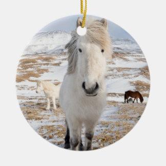 White Icelandic Horse, Iceland Round Ceramic Ornament