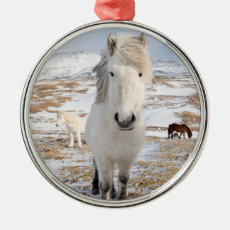 White Icelandic Horse, Iceland Silver-Colored Round Ornament