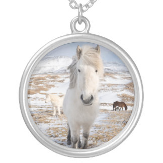 White Icelandic Horse, Iceland Silver Plated Necklace