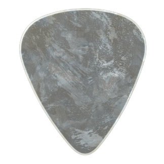White Ink on Black #2 Pearl Celluloid Guitar Pick