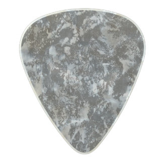 White Ink on Black #4 Pearl Celluloid Guitar Pick