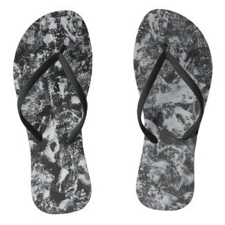White Ink on Black Background #1 Flip Flops
